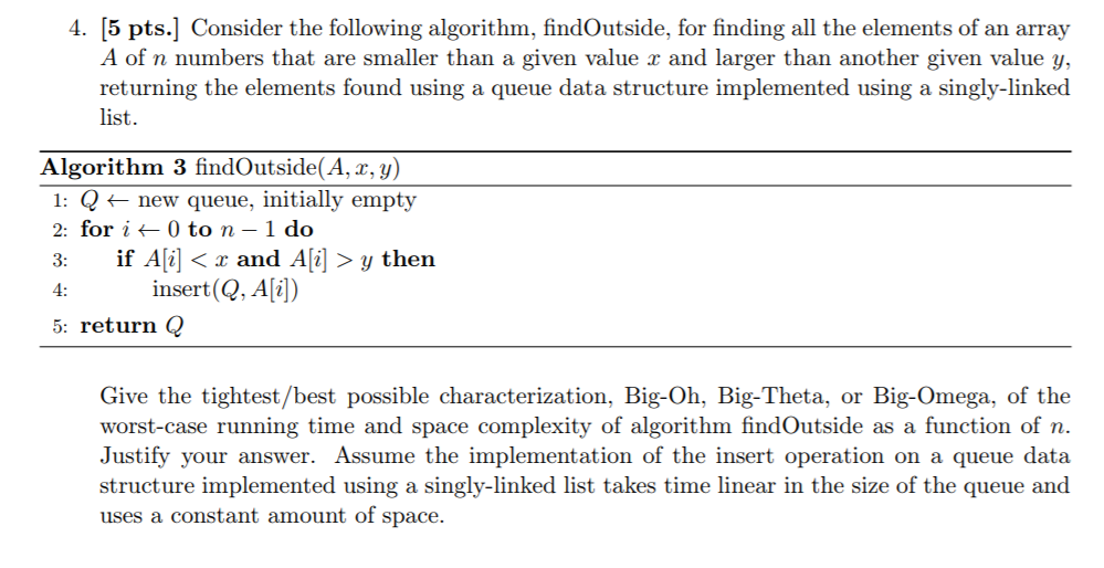 Solved: 4  [5 Pts ] Consider The Following Algorithm, Find