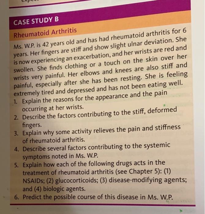Solved Capc Case Study B Rheumatoid Arthritis Ms Wp Is Chegg Com