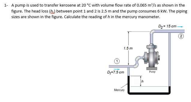1 A pump is used to transfer kerosene at 20 °C with volume flow rate of 0.065 m3/s as shown in the figure. The head loss (h between point 1 and 2 is 2.5 m and the pump consumes 6 kW. The piping sizes are shown in the figure. Calculate the reading of h in the mercury manometer. D2 15 cm- 1.5 m Di-7.5 cm Pump