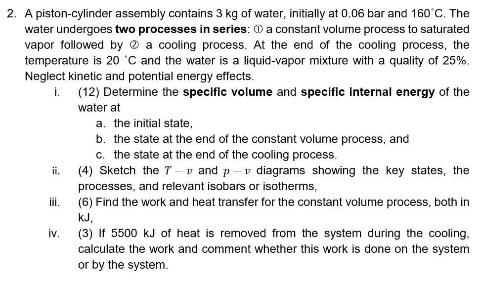 2. A piston-cylinder assembly contains 3 kg of water, initially at 0.06 bar and 160°C. The water undergoes two processes in s