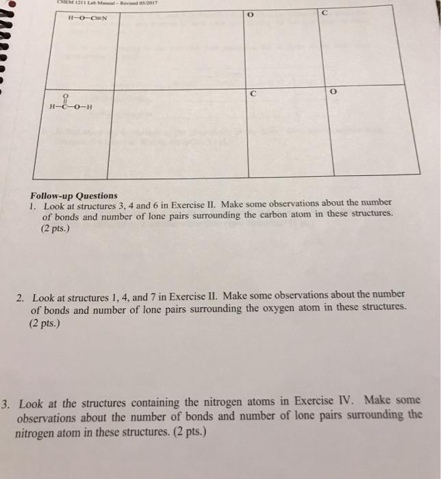 solved chem 121 lab chemical bonding and molecular struct rh chegg com chemistry 121 custom lab manual answers High School Chemistry Lab Manual