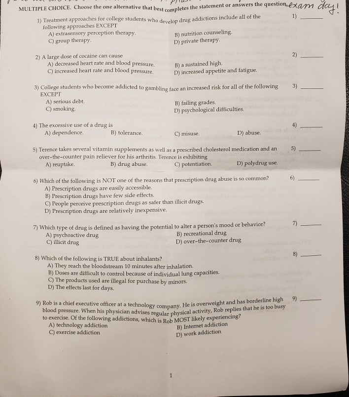 Solved: Answers The Question-exam Dai IPLE CHOICE  Choose