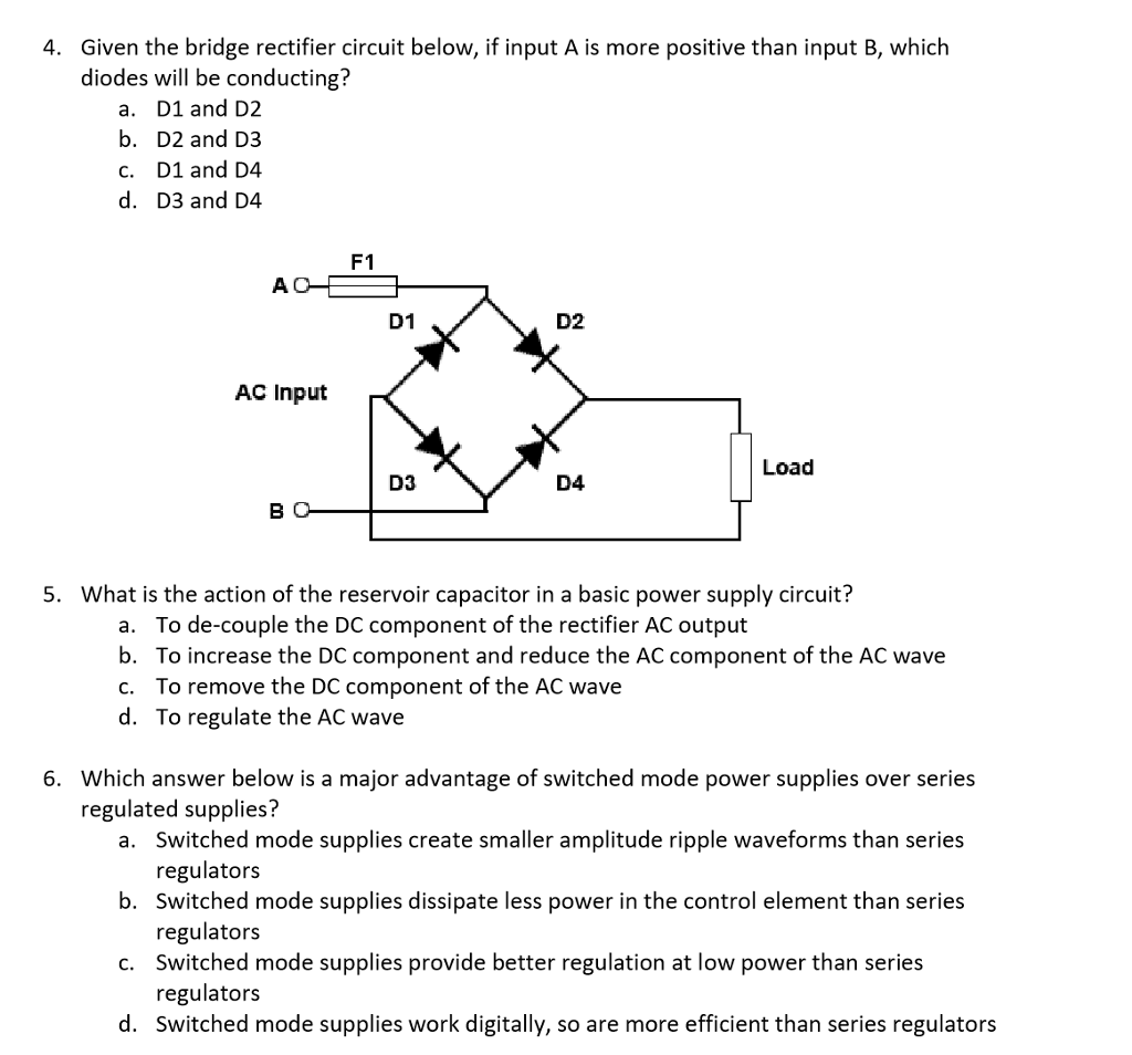 Solved: 4  Given The Bridge Rectifier Circuit Below, If In