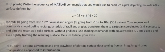 Solved: 3  (3 Points) Write The Sequence Of MATLAB Command