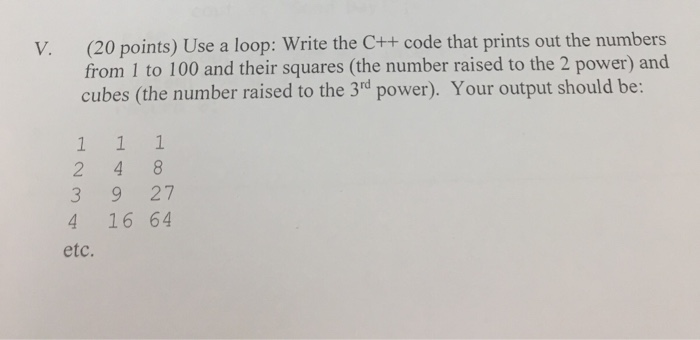 Solved V 20 Points Use A Loop Write The C Code That