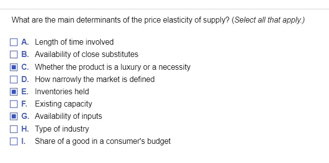 Solved What Are The Main Determinants Of The Price Elasti