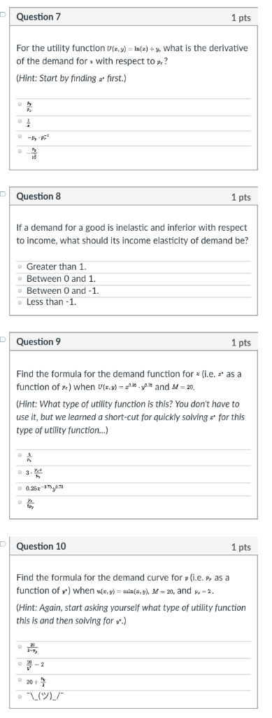 Solved Question 7 1 Pts For The Utility Function Ta Y I