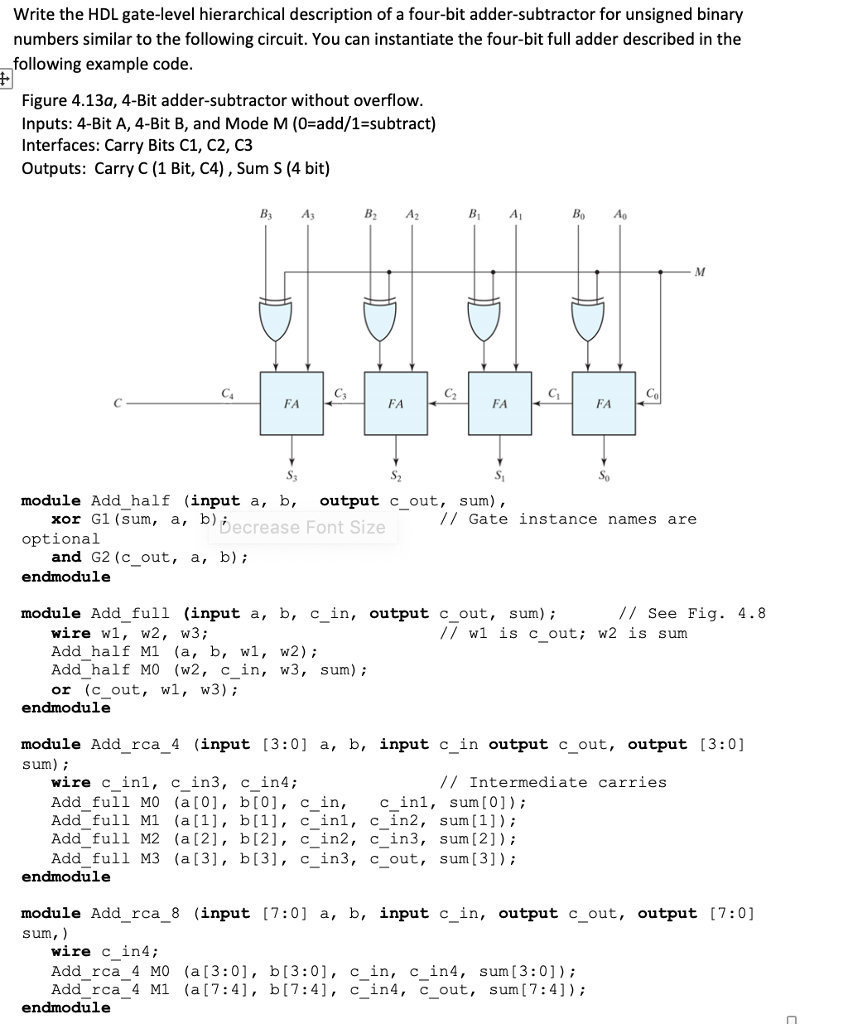 Solved Write The Hdl Gate Level Hierarchical Description Circuit Diagram Of Full Adder A Four Bit Subtractor