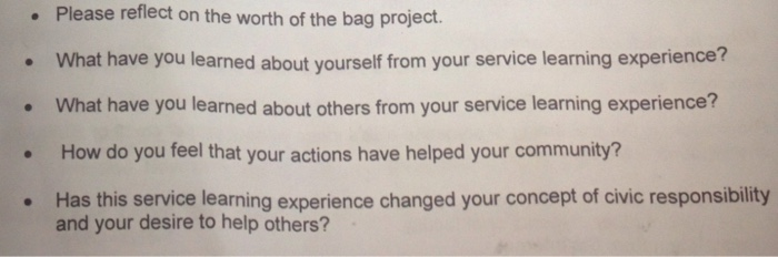 Please Reflect On The Worth Of The Bag Project  Wh