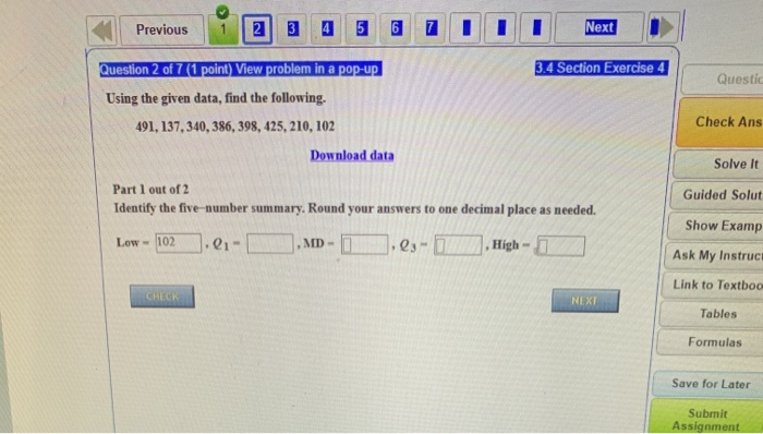 Solved: MATH Hosted By ALEKS Corp 3 4 Homework Previous 1