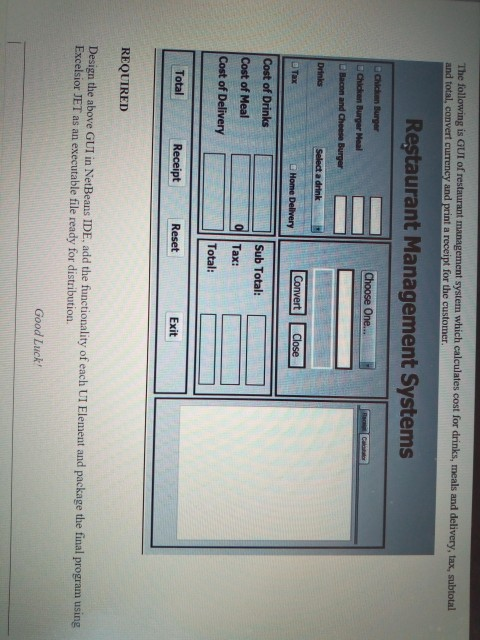 Solved: The Following Is GUI Of Restaurant Management Syst