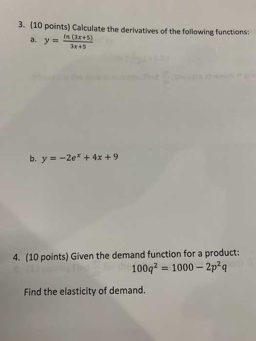 Solved 3 10 Points Calculate The Derivatives Of The Fo