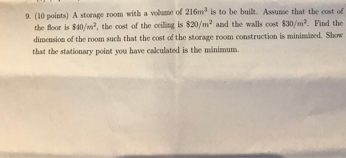 (10 Points) A Storage Room With A Volume Of 216m3 Is To