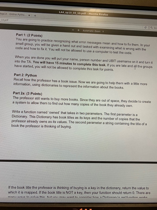 Solved: LA4 Sp19 03 10 pdf- Mozilla Firefox Epl it Online
