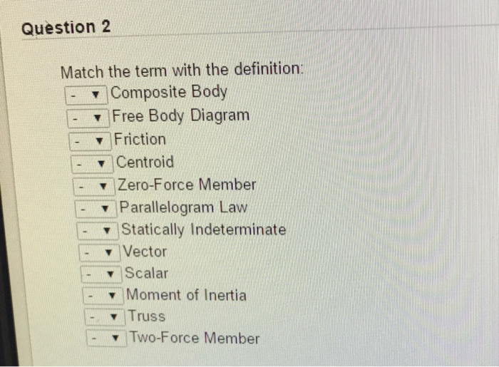 Solved Question 2 Match The Term With The Definition Com