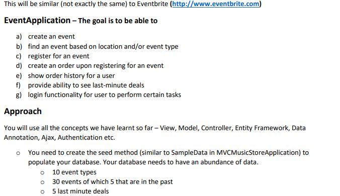 ASP NET MVC – Create An EventApplication This Is A