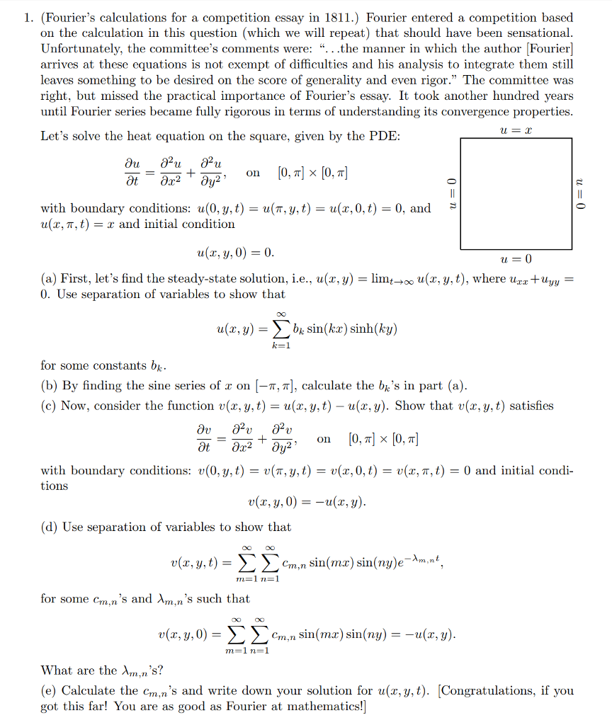 Solved  Fouriers Calculations For A Competition Essay  Fouriers Calculations For A Competition Essay In  Fourier Entered A Healthy Eating Essay also Writing Services In Less Than 8 Hours  Search Essays In English