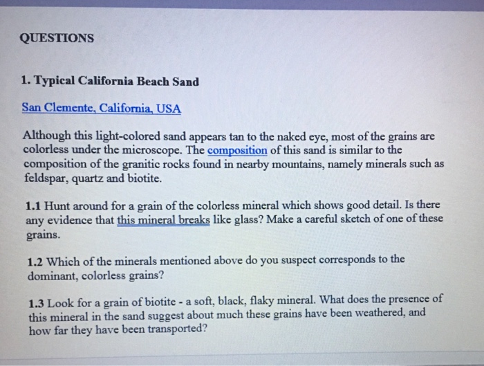 QUESTIONS 1  Typical California Beach Sand San Cle    | Chegg com