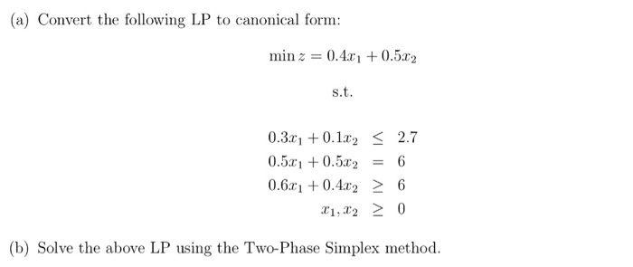 solved a convert the following lp to canonical form min