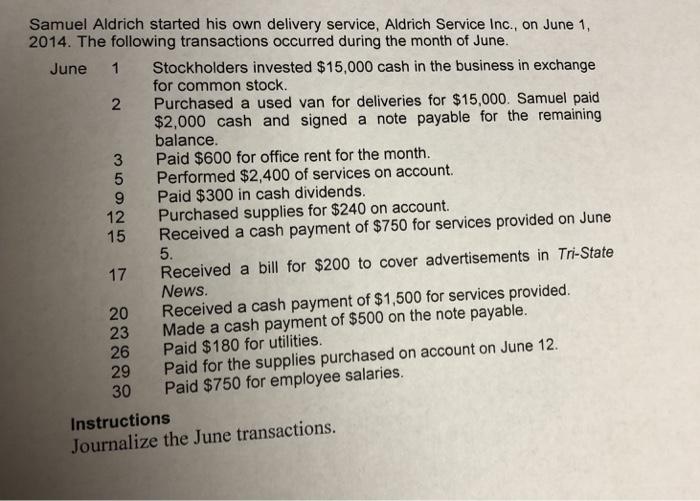 Samuel Aldrich started his own delivery service, Aldrich Service Inc., on June 1, June 1 Stockholders invested $15,000 cash i
