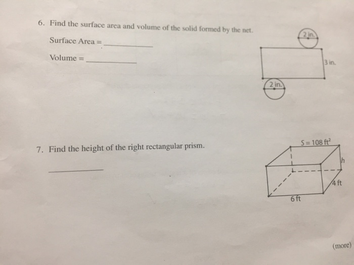 Solved Find The Surface Area And Volume Of The Solid Form
