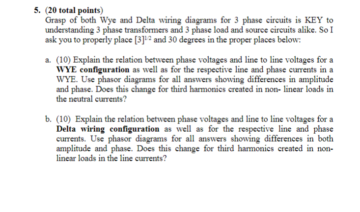 delta wiring diagrams solved 5  20 total points  grasp of both wye and delta w  20 total points  grasp of both wye