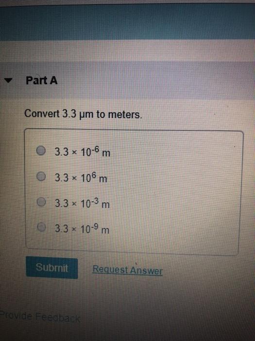 Part A Convert 3 Um To Meters X 10 6 M