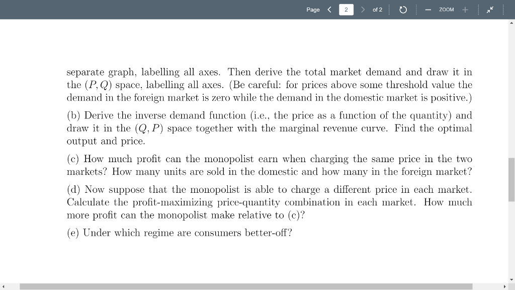 Solved Page Of 2 Exercise 2 Monopoly And Price Discri
