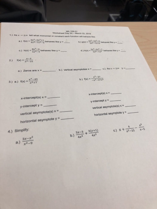 Solved: 1.) Asxzo Tell What Monomial Or Worksheet Day 24-M ...
