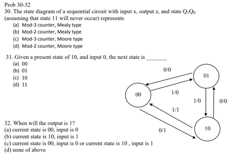 solved prob 30 32 30 the state diagram of a sequential cthe state diagram of a sequential circuit with input x