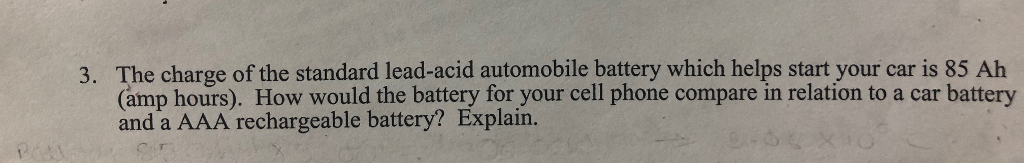 Solved: The Charge Of The Standard Lead-acid Automobile Ba