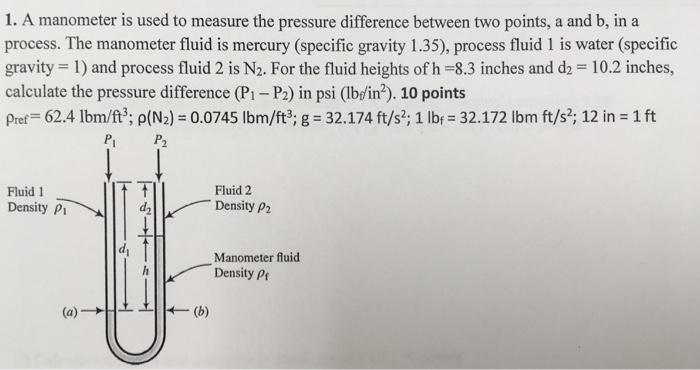 process  the manometer fluid is mercury (specific gravity 1 35), process  fluid 1