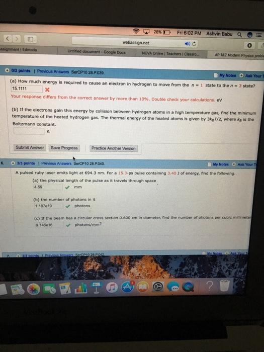Solved: ??28% D Fri 6:02 PM Ashvin Babu A Webassign net E