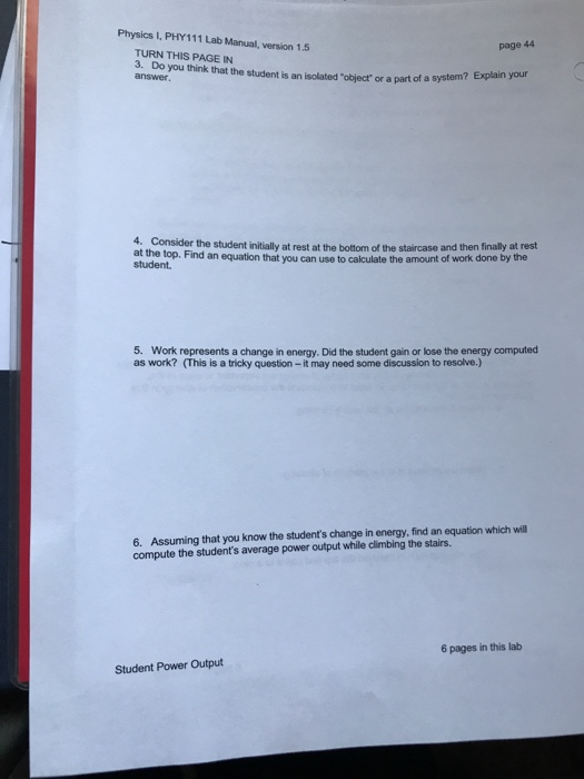 Solved: Physics I, PHY111 Lab Manual, Version 1 5 TURN THS