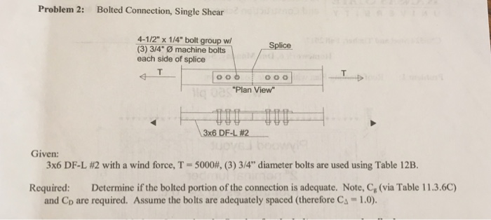 Solved: Problem 2: Bolted Connection, Single Shear 4-1/2 X ...