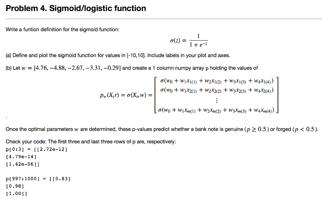 Problem 4  Sigmoid/logistic Functiorn Write A Funt