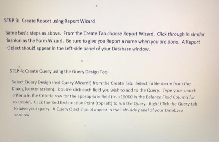 Solved Executive Summary Create A Microsoft Access Databa Chegg Com