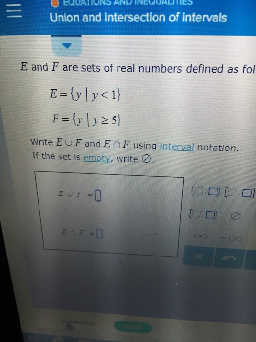 Solved Union And Intersection Of Intervals E And F Are Se