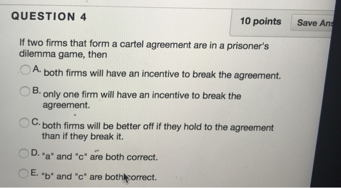 Solved Question 4 10 Points Save An If Two Firms That For