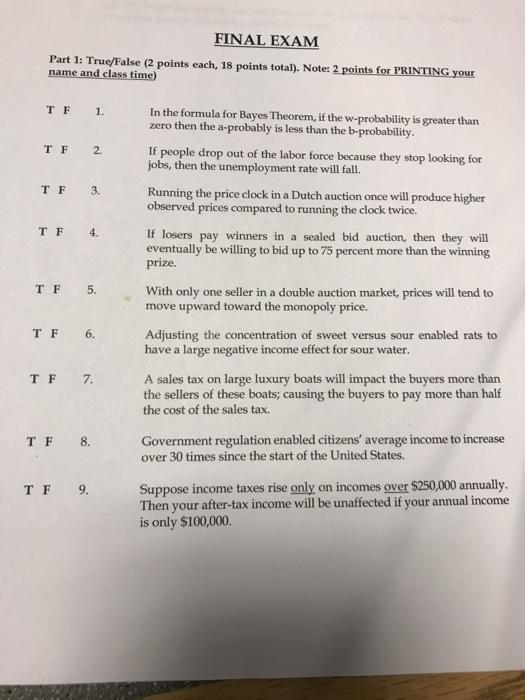 Solved: FINAL EXAM Part 1: True/False (2 Points Each, 18 P ...