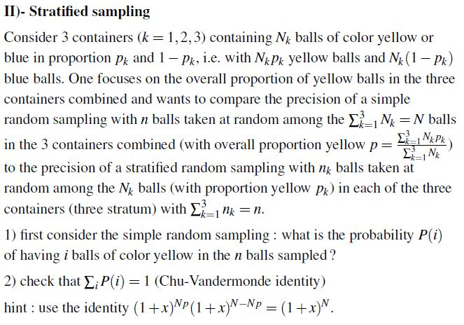 II)- Stratified Sampling Consider 3 Containers (k     | Chegg com