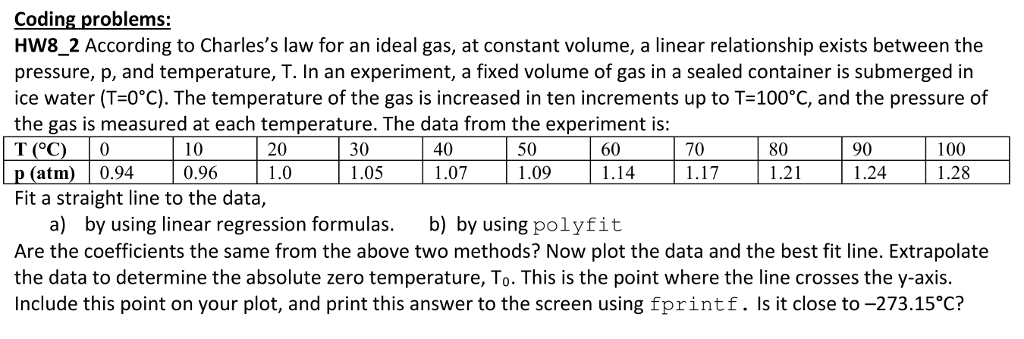 Solved: Coding Problems: HW8_2 According To Charles's Law
