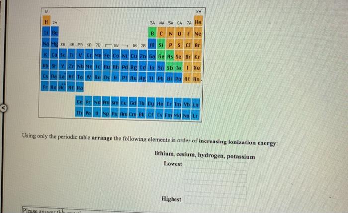 3A 4A 5A 6A 7 Ge As Se Br Kr Using only the periodic table arrange the following elements in order of increasing ionization energy lithium, cesium, hydrogen, potassium Lowest Highest