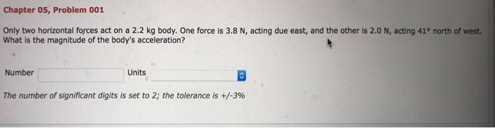 Chapter 05, Problem 001 Only two horizontal forces act on a 2.2 kg body. One force is 3.8 N, acting due east, and the other is 2.0 N, acting 41° north of west. What is the magnitude of the bodys acceleration? Number Units The number of significant digits is set to 2; the tolerance is +/-3%