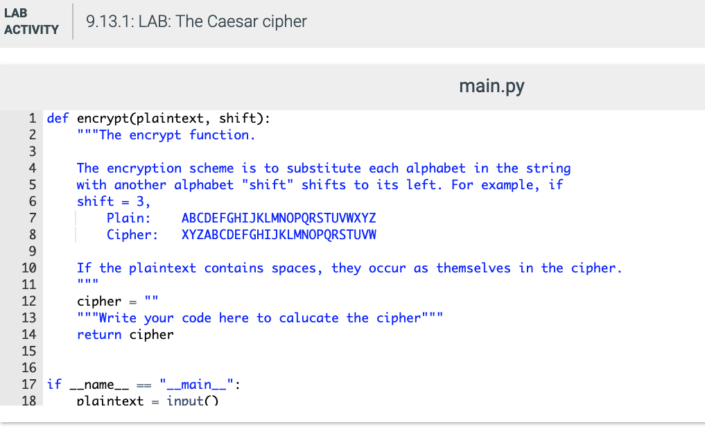 Solved: 9 13 LAB: The Caesar Cipher In Cryptography, Caesa