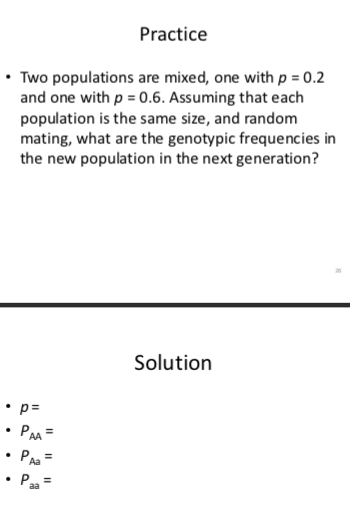 Practice * Two populations are mixed, one with p 0.2 and one with p-0.6. Assuming that each population is the same size, and random mating, what are the genotypic frequencies in the new population in the next generation? Solution Aa