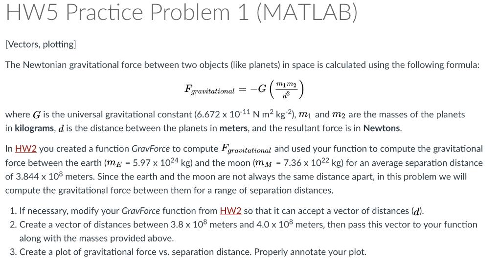 Solved: HW5 Practice Problem 1 (MATLAB) Vectors, Plottingl