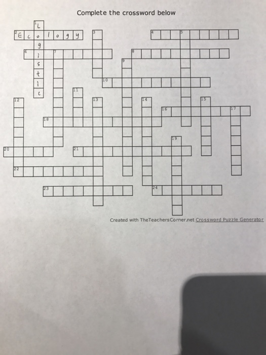 Complete The Crossword Below Created With TheTeachersCorner Puzzle Generator