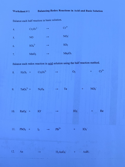 Solved: Worksheet # 1 Balancing Redox Reactions In Acid An ...
