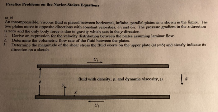 Practice Problems on the Navier-Stokes Equations ns 03 An incompressible, viscous fluid is placed between horizontal, infinite, parallel plates as is shown in the figure. The two plates move in opposite directions with constant velocities, Ur and Uz. The pressure gradient in the x direction is zero and the only body force is due to gravity which acts in the y-direction. 1. Derive an expression for the velocity distribution between the plates assuming laminar flow. 2. Determine the volumetric flow rate of the fluid between the plates. 3. Determine the magnitude of the shear stress the fluid exerts on the upper plate (at y-b) and clearly indicate its direction on a sketch. fluid with density, p, and dynamic viscosity, u U2